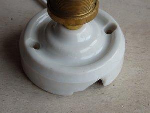 画像4: フランスアンティーク 電球付壁付けソケットランプ電気陶器製
